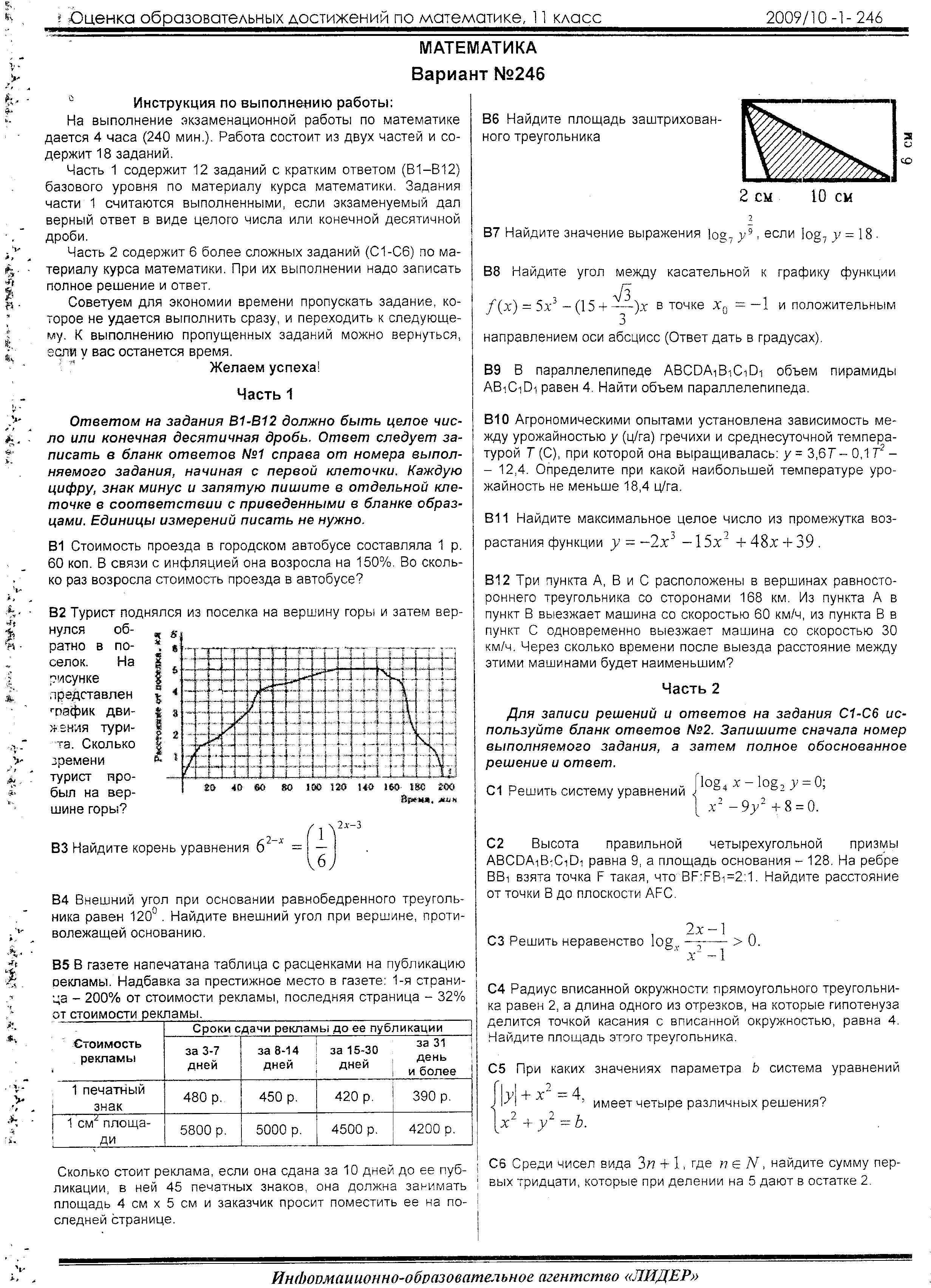 Ответы на работу 28 ноября 2018 по математике 10 класс